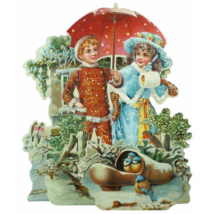 Christmas Decorations In Victorian England: Pull-out Victorian Woodland Stroll Christmas Card