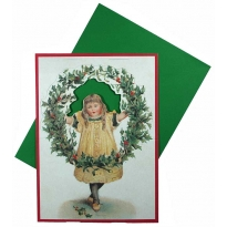 Standing Girl with Wreath Christmas Card ~ England