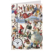 Busy Gnomes Whimsical Glittered Happy Birthday Card ~ Germany
