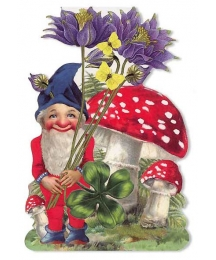 Colorful Gnome with Mushrooms Card ~ Germany