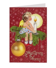 Angel with Candle Glittered Christmas Card in French ~ Germany