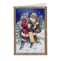Vintage Santa with Sled Advent Calendar Card ~ Germany