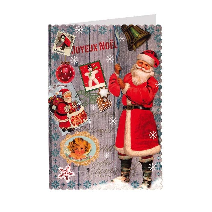 Classic santa christmas collage glittered christmas card for Santa cards pinterest