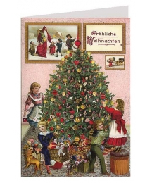 Decorating the Victorian Christmas Tree Card ~ Germany