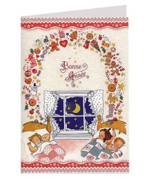 Sweet Dreams of Christmas Glittered Christmas Card ~ Germany