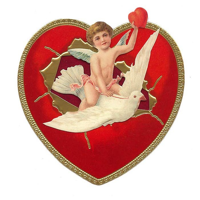 Cupid and Dove Standing 3-D Valentine Card ~ England