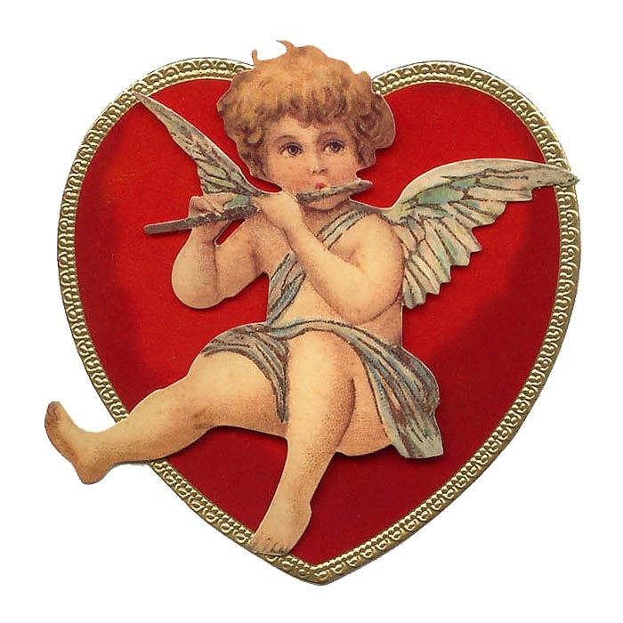 Cupid Playing Flute Standing 3-D Valentine Card ~ England