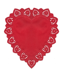5 Large Red Heart Doilies ~ Germany ~ 10 1/2""