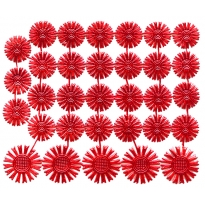 Small Red Dresden Foil Celestial Halos ~ 32 Assorted