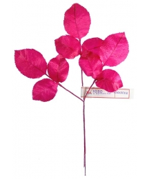 Sprig of Shocking PInk Silk Rose Leaves ~ Vintage Germany