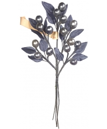 Spray of Silver Glass Berries and Leaves ~ Vintage Germany
