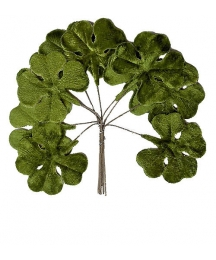 Set of 10 Green Velvet Shamrocks ~ Clover Leaves ~ Czech Repub.