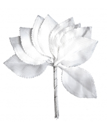 Set of 10 Small White Satin Rose Leaves ~ Czech Repub.