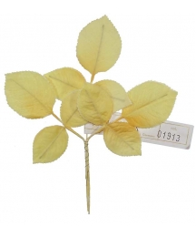 Sprig of Yellow Ombre 2 Layer Rose Leaves ~ Vintage Germany