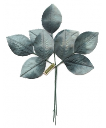 Sprig of Muted Blue Ombre Rose Leaves ~ Vintage Japan