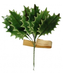 Set of 6 Olive Green Lacquered Holly Leaves ~ Vintage Germany