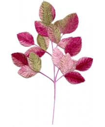 Spray of Mixed Pink and Green Velvet Leaves ~ Vintage Japan