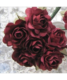 12 Burgundy Paper Open Rose Flowers