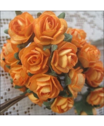 24 Medium Orange Petite Rose Paper Flowers
