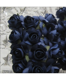 24 Navy Blue Petite Rose Paper Flowers