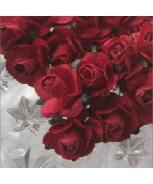 24 Ruby Red Petite Rose Paper Flowers