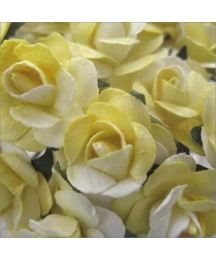 24 Yellow Mix Petite Rose Paper Flowers
