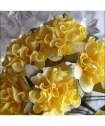 12 Yellow Paper Ruffled Pom Poms