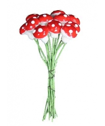 12 Small Spun Cotton Mushrooms from Germany ~ 10mm Red
