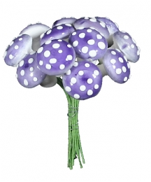 12 Large Spun Cotton Mushrooms from Germany ~ 18mm Lilac Purple