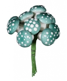 12 Large Spun Cotton Mushrooms from Germany ~ 18mm Sky Blue
