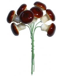 8 Spun Cotton Mushrooms from Germany ~ 20mm Forest Brown