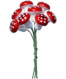 8 Spun Cotton Mushrooms from Germany ~ 20mm Red