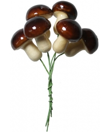 6 Spun Cotton Mushrooms from Germany ~ 25mm Forest brown