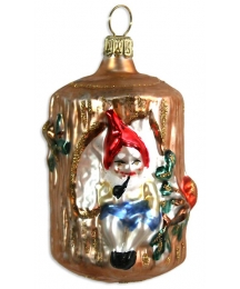 "Gnome in Tree Stump Blown Glass Ornament ~ Germany ~ 3"" tall"