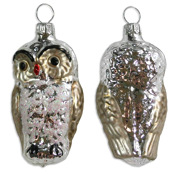 Silver owl blown glass ornament germany quot tall