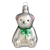 "Petite White Bear Blown Glass Ornament ~ Czech Republic ~ 2-1/4"" tall"