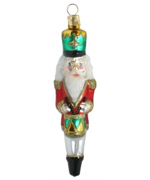 "Nutcracker with Drum Blown Glass Ornament ~ Czech Republic ~ 5"" tall"
