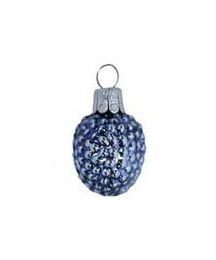 "Super Petite Blue Berry Blown Glass Ornament ~ Czech Republic ~ 1-1/4"" long"