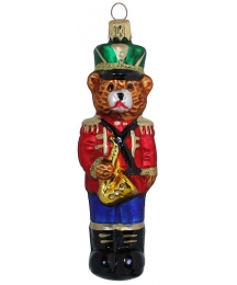 "Musician Bear with Saxophone Glass Ornament ~ Czech Republic ~ 5"" tall"