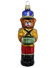 "Musician Bear with Accordion Glass Ornament ~ Czech Republic ~ 5"" tall"