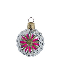 "Petite Silver and Hot Pink Fantasy Flower Ornament ~ Czech Republic ~ 1-3/4"" tall"