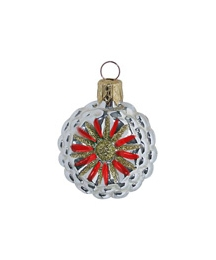 "Petite Silver and Red Fantasy Flower Ornament ~ Czech Republic ~ 1-3/4"" tall"