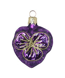 "Petite Blown Glass Purple Pansy Ornament ~ Czech Republic ~ 2"" tall"