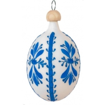 """Folkloric Blue and White Blown Glass Egg Ornament ~ Czech Republic ~ 2-1/2"""" tall"""