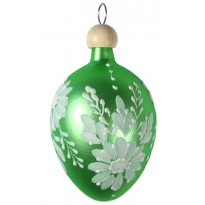 "Pale Green Egg with White Flowers Blown Glass Ornament ~ Czech Republic ~ 2-1/2"" tall"