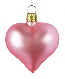 "Matte Pink Blown Glass Heart Ornament ~ Germany ~ 2-1/2"" long"