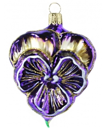 "Beautiful Blown Glass Purple Pansy Ornament ~ Germany ~ 3-1/2"" tall"