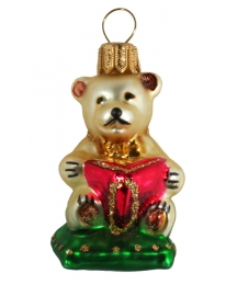 "Small Bear with Book Blown Glass Ornament ~ Poland ~ 2-1/4"" tall"