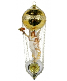 "Victorian Style Angels on Golden Hot Air Balloon Christmas Ornament ~ Germany ~ 8"" tall"