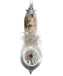 "Fancy Snow Angel on Frosted Indent Victorian Style Christmas Ornament ~ Germany ~ 8"" tall"